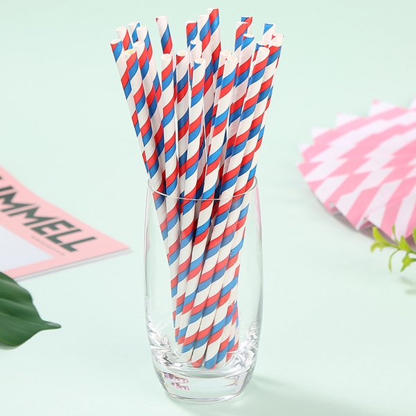 25pcs Disposable Drinking Straws Cocktail Paper Drink Straw Tableware Home Bar Wedding children birthday party decorations