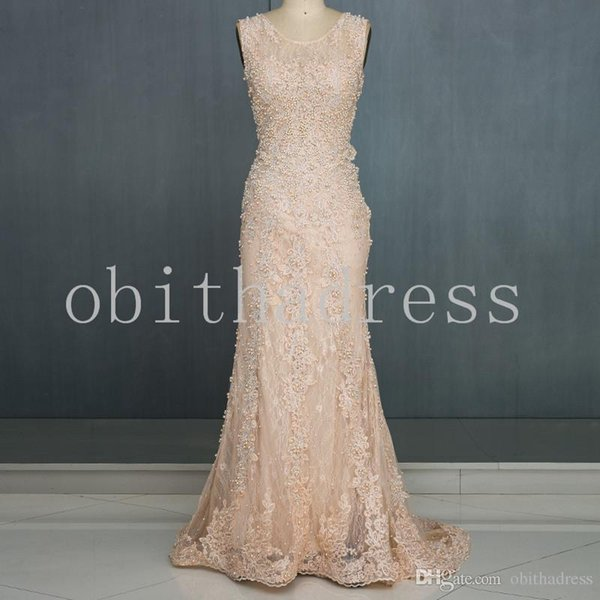 Sweet Lace Applique Hot Diamond String Pearl Prom Dresses Trailing Formal Evening Dress Special Occasion Dress