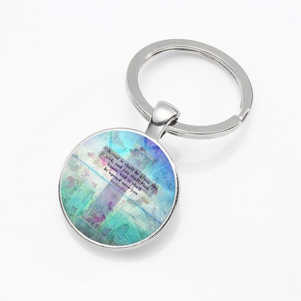 Fashion Creative Car Ornaments Christian Jesus Time Gemstone Glass Alloy Pendant Keychain Exquisite Pendant Small Gifts Wholesale