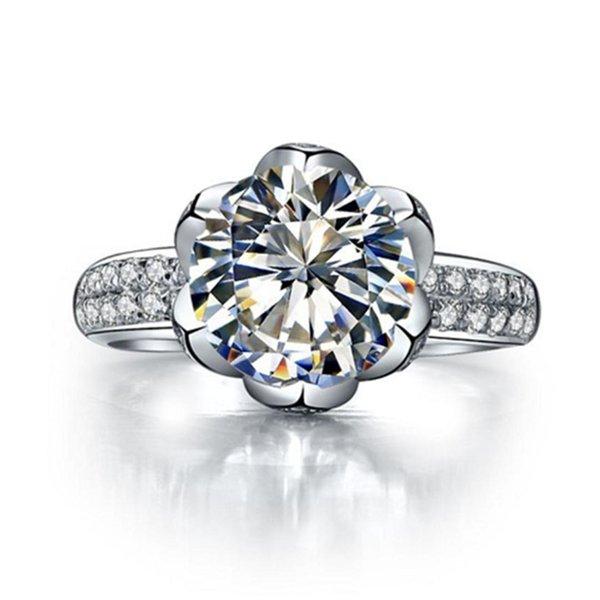 Teste positivo sólidos corações jóias 14K ouro branco Flor de Lotus e Arrows anel 4CT Moissanite Engagement Diamond Ring por Mulheres