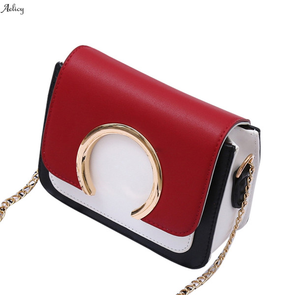 New High Quality for Flap ladies Fashion Simple Solid Color Women's Fashion Ring Decoration Patchwork Crossbody Shoulder Bags