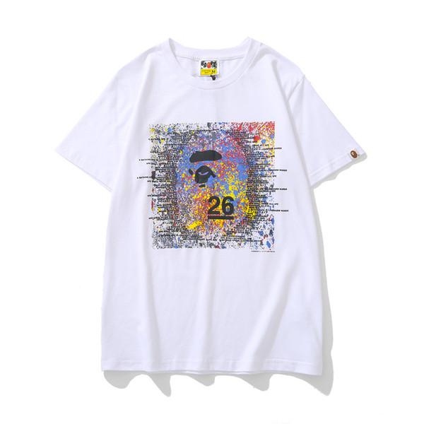 Yaz erkek Gevşek Renkli Mürekkep Baskı Mavi Sarı T-Shirt Genç Spor Hip Hop Rahat Siyah Kırmızı T-Shirt