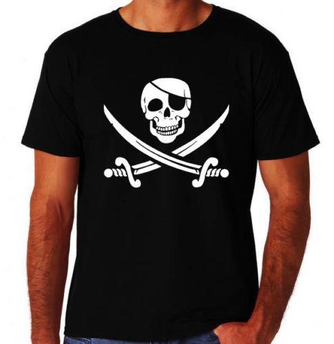 Pirata Crânio Atacado t-Shirt T Shirt Dos Homens Top Design de Manga Curta de Algodão Personalizado Tamanho Grande Equipe T-Shirts