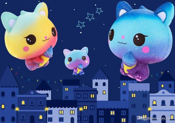 New Rainbow Cartoon Ice Cream Cat Kitty Squishy Slow Rising Cute Jumbo Strap Soft Squeeze Scented Bread Cake Toy Gift Kid Fun 11