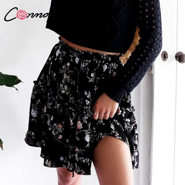 Conmoto Stampa floreale Nero Femmina 2019 Gonne Donna Casual Scarpe sexy Gonne corte Femminile Gonne a vita alta Boho Y19071601
