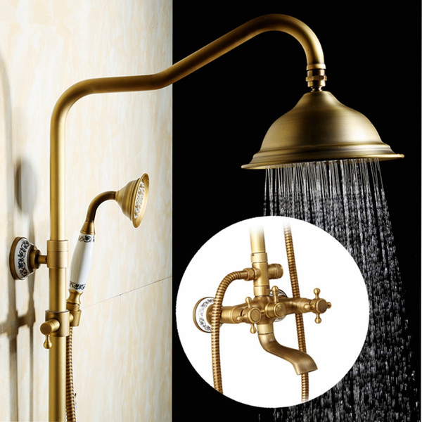 antique rain shower faucets set with hand brass wall mounted shower mixer for bathroom bath luxury rainfall shower set