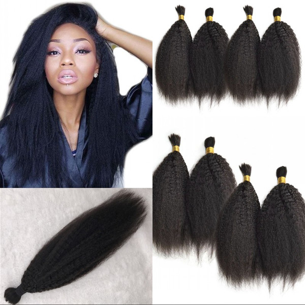 Brazilian Kinky Straight Hair Bulk 4 Pcs lot 100% Real Human Hair Natural Color Wholesale Bundles FDSHINE