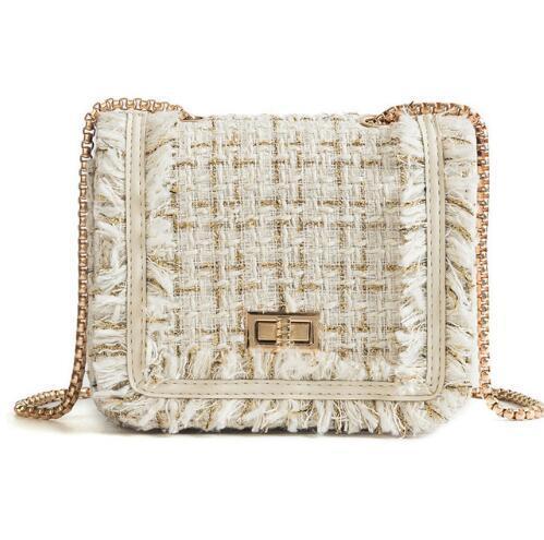 Small Flap Shoulder Bags Women Messenger Gold Chain Cross Hand Bag Vintage Clutch Winter Satchel Woolen Crossbody .