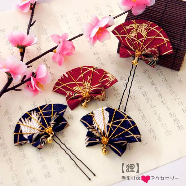2019 Handmade bow hairpin with bell Chinese style cotton U-shaped hair clips Duckbill clip girls women gift hair styling tool