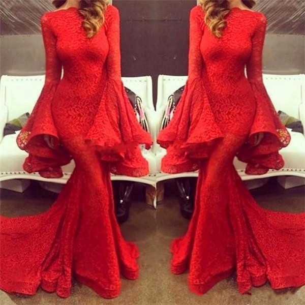 2019 New Red Lace Mermaid Evening Dresses Long Sleeves Sweep Train Stunning Prom Dresses Party Gowns vestido longo de festa 2018