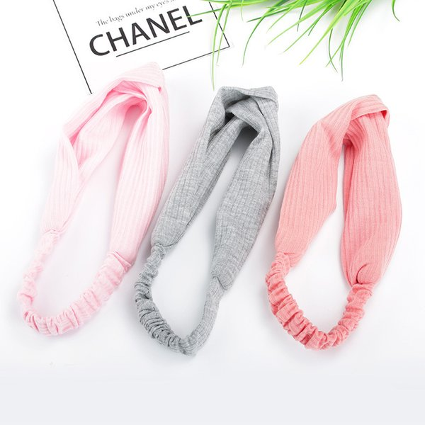 version of creative hair accessories headband autumn and winter new hair band ladies temperament knit cross sports solid color headba