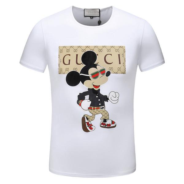 2019 nuevos hombres y mujeres de la venta caliente del verano de cuello redondo personaje de dibujos animados letra mayúscula impresión moda pareja de manga corta camiseta