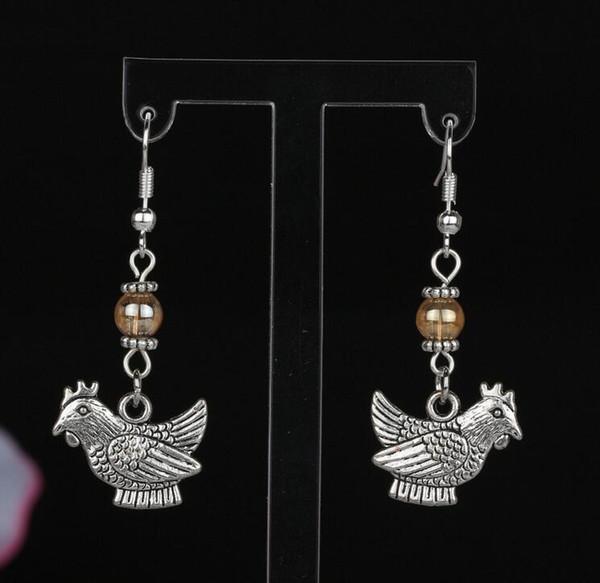 Vintage Silver Antlers Deer Head Hen Birds Bee Heart Chicken Earrings Charms Jewelry Drop/Dangle Earrings For Women Mixed Style Gift 2019