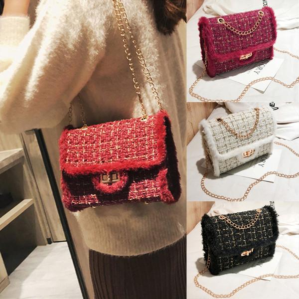 Chaînes de luxe Femmes Sacs 3 couleurs en peluche laine Sac Tide chaîne simple sac à bandoulière petit sac à main carrée Lady Sac bandoulière TJY974