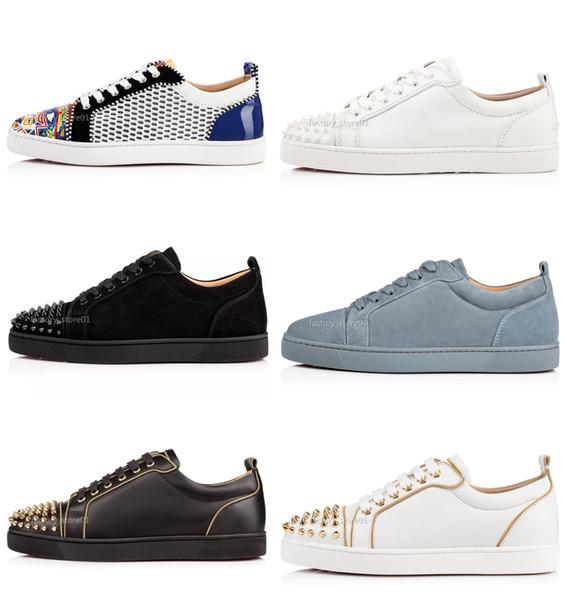 Лучшие дизайнерских кроссовки Red Bottom Low Cut Шипы Квартира обувь для мужчин женщин кожаных кроссовок повседневной обувь с мешком для сбора пыли партии Свадьбы Sneaker