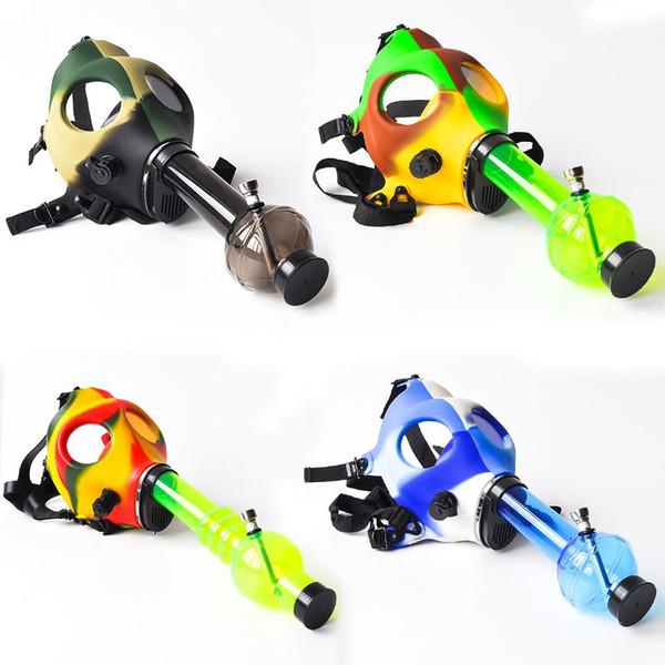 Silicone Gas Mask Bong Hookah Smoking Water Pipe Mix Colors Camouflage Mask Acrylic Bong Free Shipping