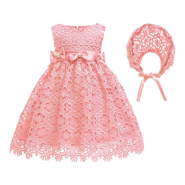 Baby Girl Dress For 0-24m 1 Year Baby Girls Birthday Dresses For Infant Petals Tulle Vestido Party Princess Dress With Hat J190619