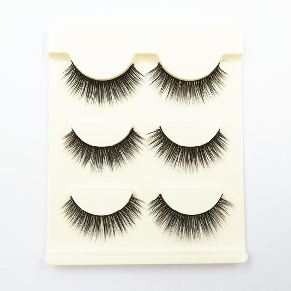 AMSIC 3pairs Natural Cross False Eyelashes Beauty Makeup Thick Style Eye Lashes Extension Makeup Tools for Women