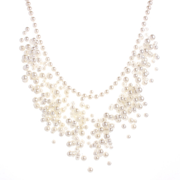 Fashion Beads Multi Layer Big Chunky Pearl Necklace Choker Tassel Necklace Women Charms Pearl Jewelry