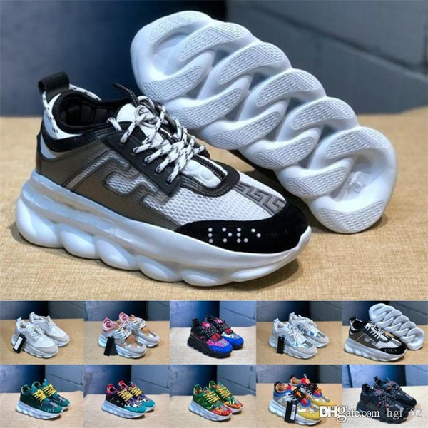with box 2019 cheap Chain Reaction Casual Designer Sneakers Sport Fashion Casual Shoes Trainer Lightweight Link-Embossed Sole With Dust Bag