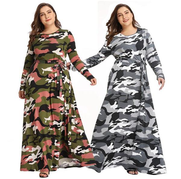 Women Camouflage Maxi Dress Plus Size Long Sleeve Lace Up Camo A Line  Military Dress Autumn Winter Dresses LJJO7213 1 Silk Dresses Black Evening  ...