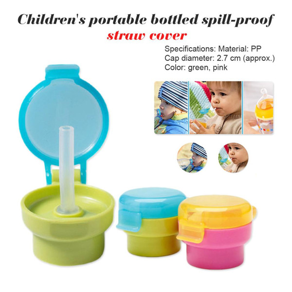 Portable Hygiene Drink Feeder No Spill Choke Cute Water Bottle Adapter Cap With Tube Drinking Straw For Baby Infants Kid
