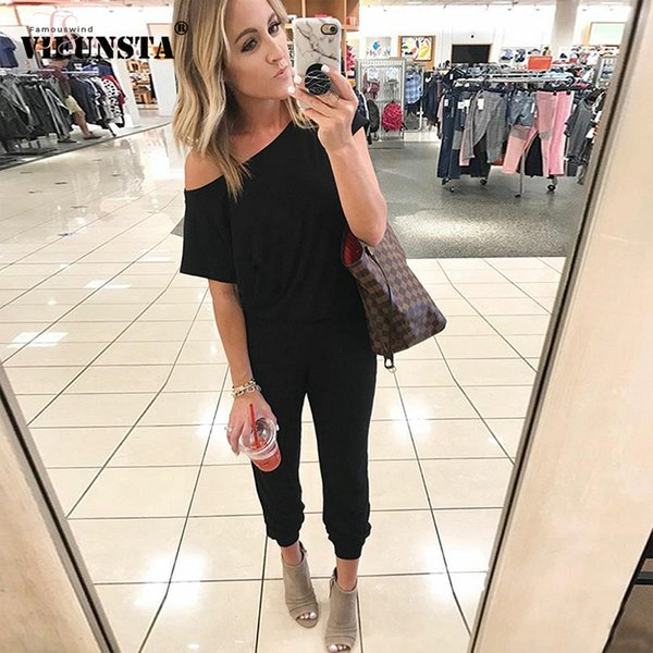 Off New Ombro Sexy Mulheres Jumpsuit Corte Neck Elastic cintura fina Romper Summer manga curta Roupa Streetwear Sólidos