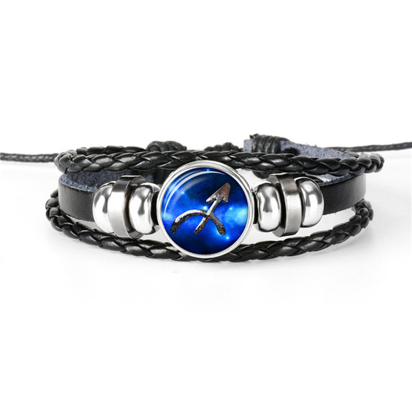 2019 New 12 Constellations Zodiac Sagittarius Time Gem Glass Cabochon Bracelets Fashion Cuff Leather Rope Beaded Charm Bangles For Women Men