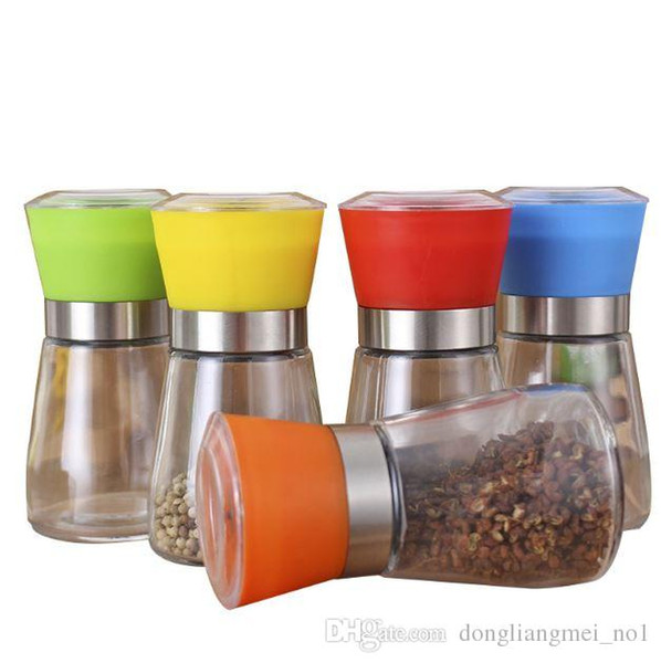 DLM2020 Salz- und Pfeffermühle Mühle Glas Pfeffermühle Shaker Gewürzsalzbehälter Menage Jar Halter Schleif Flaschen WN480C 100PC