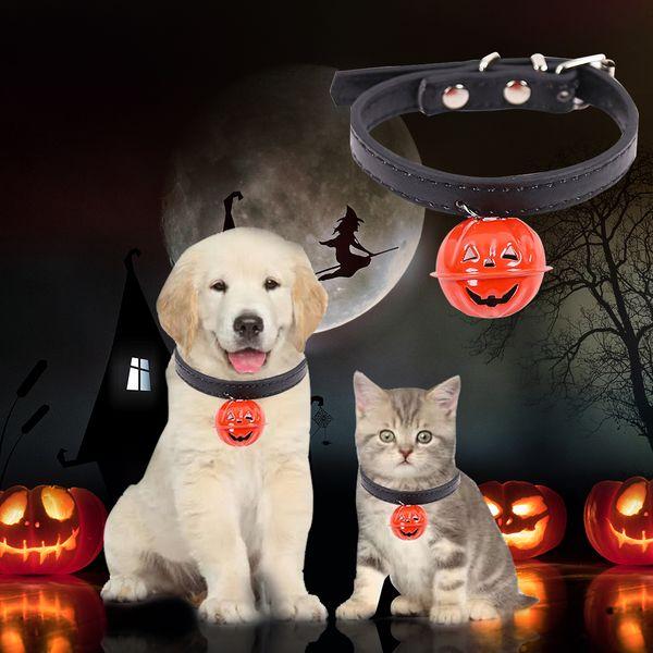Halloween Easy Wear Cat Dog Collar With Pumpkin Bell Adjustable Buckle Dog Cat Collar Puppy Pet Supplies Accessories