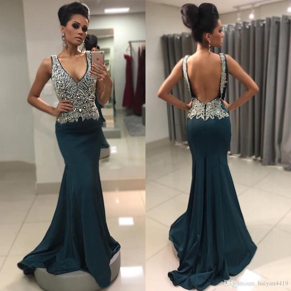 Hunter Green Prom Dresses V Neck Mermaid Spaghetti Straps Major Beading Crystal Backless Sweep Train Formal Prom Evening Gowns Vestidos