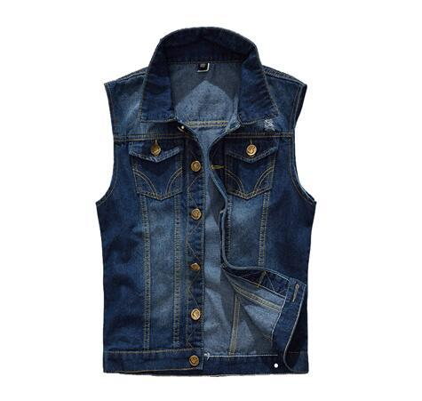 5XL Denim Vest Men's Jacket Sleeveless Casual Waistcoat Men's Jean Coat Ripped Slim Fit Male Jacket Cowboy