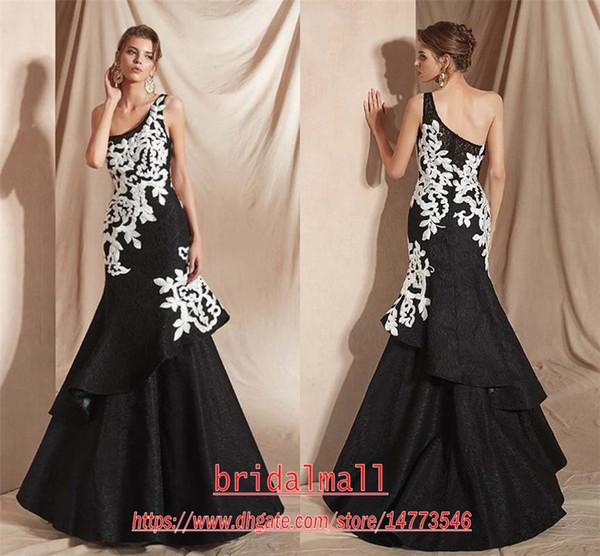 Compre 2020 Elegante De Un Hombro Vestidos Negro Cordón De La Sirena Vestidos De Noche Blancos Apliques Moldeados Formal Largo Del Partido Del Desfile