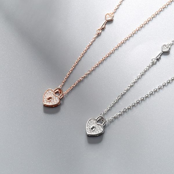 Collana a cuore in argento sterling 925 nuova s collana semplice con colletto a forma di cuore in zircone oro rosa.