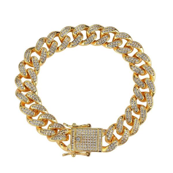 hip hop diamonds link chains bracelet for men copper zircon real gold plated luxury bracelets western hot sale 12mm Cuban chain jewelry