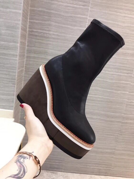 New arrival round toe platform high wedge women pumps genuine leather stretch fabric spring and autumn short boots