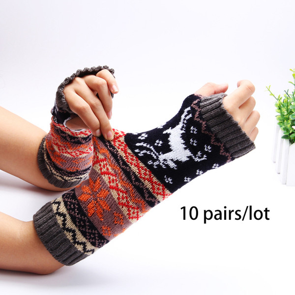 77f7d07ca 10 Pairs/Lot Women Print Knitted Autumn Winter Arm Warmers Fingerless Gloves  National Jacquard Sleeves