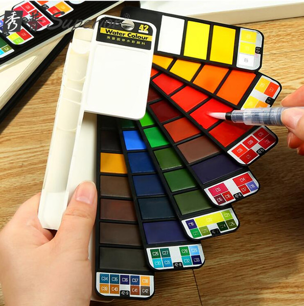 top popular Superior solid watercolor paint set beginner fountain pen child fan-shaped watercolor paint student painting tools Art Supplies 2021