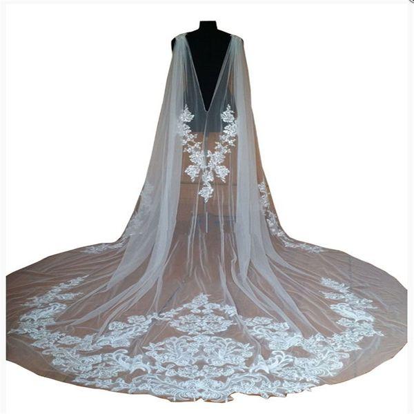 Hot Sale 2018 Bridal Wedding Shawl Cloaks Bolero Cape Lace Jacket Wraps White Ivory Shrug Cathedral Train 3M Long Veil
