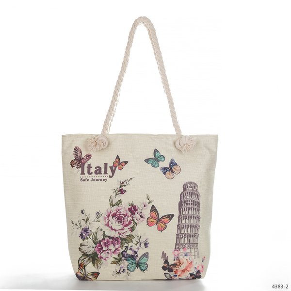 Eiffel Tower Printing Linen Woman Package Wallace Clock Single Shoulder Handbag Will Capacity Support Special Package Tide