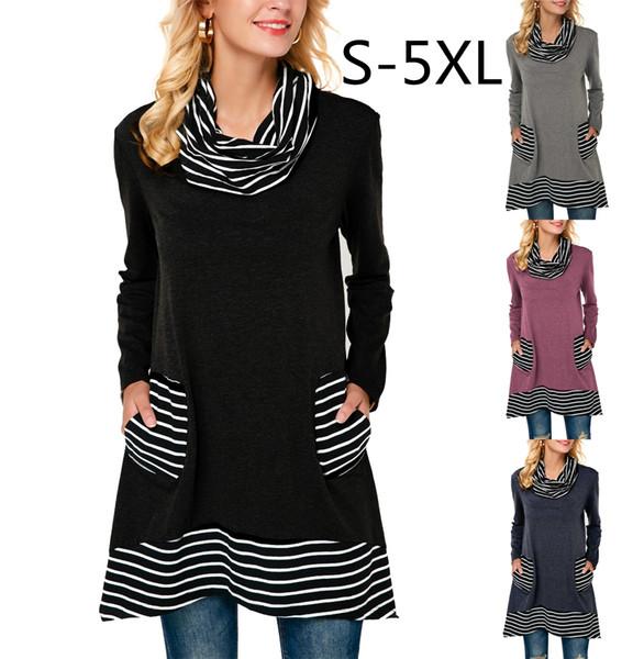 Женщины длинные рубашки высокий воротник Полиэстер + Спандекс полоса контраст цвет SML XL 2XL 3XL 4XL 5XL плюс размер дамы топы
