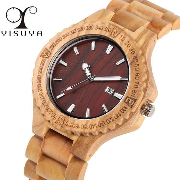 Handmade Wooden Watch for Man Business Wood Quartz Analog Wrist Watches for Men Creative Brown Wooden Bamboo Band Teens Watches