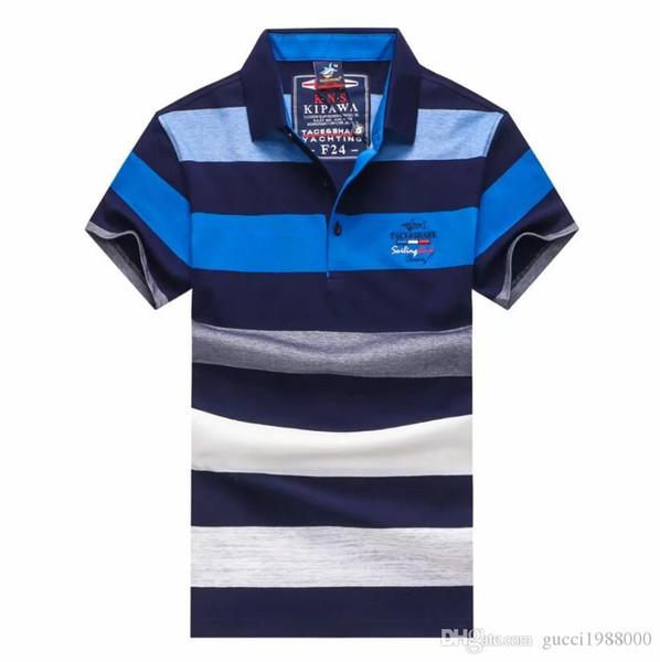 Herrenmode Herren-Designer einfache gestreifte Persönlichkeit Knopf Herren-Kurzarm-Revers T-Shirt mit hochwertigem lässig sweatshi