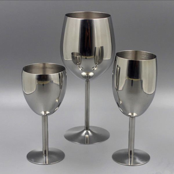 2pcs Clásica copas de vino de acero inoxidable 18/8 bar de vinos de Champagne Glass Coctel de consumición de la Copa encantos de fiesta Preferencia
