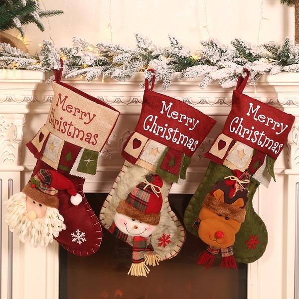 47*23cm Cartoon Christmas Tree Hanging Stocking Children Gift Bags Cartoon  Santa Claus Christmas Stockings DHL Outdoor Xmas Decorations Outside ...