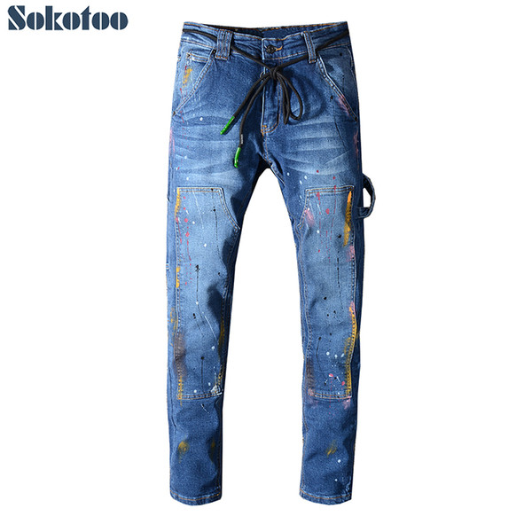 Sokotoo Men's painted blue stretch jeans with string belt Fashion pockets patchwork denim pants High quality