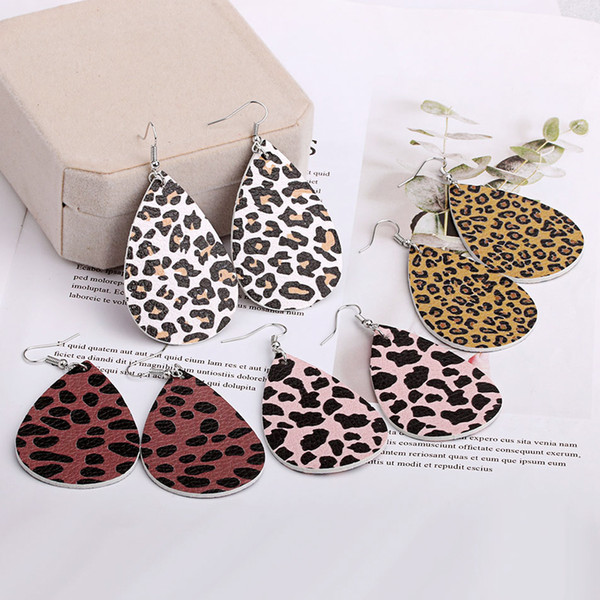 fashion leather earrings for women leopard print teardrop earrings handmade long dangle earrings Charm Party Jewelry