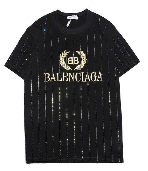 9102 новый тройник черный BB мужчины женщины Золотая буква логотип вышивка горный хрусталь футболка с коротким рукавом O-образным вырезом футболка оптом S-XXL