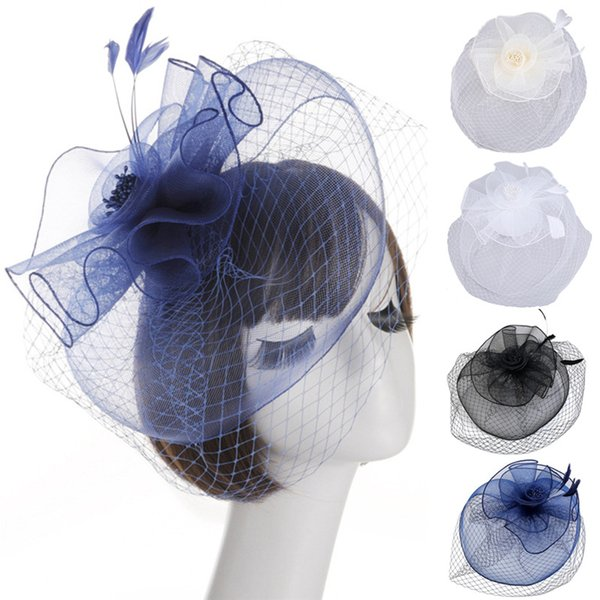 New Arrival Bridal Net Lace Hats Elegant Flower Shape Hair Clip Hat Veil Bridal Face Veils Wedding Bride Hats
