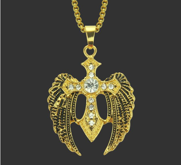Creative new European and American individuality hip-hop diamond-inlaid cross Wing Pendant Necklace boutique hip-hop rap jewelry